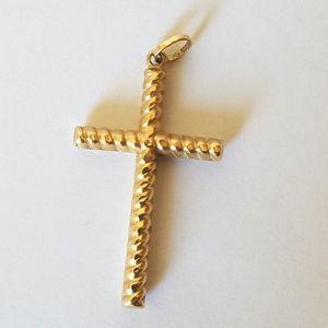 14K Gold Cross Pendant Charm 1.25in
